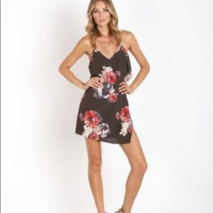 Free People Black Floral Slip Dress M